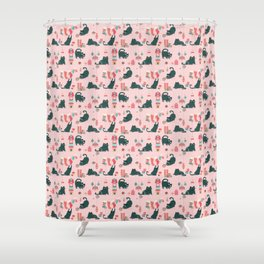 Vintage Christmas cats - rose Shower Curtain
