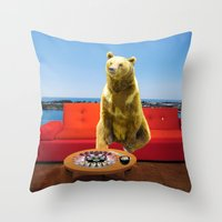 bleach Throw Pillows featuring Bleach Blonde Bear by Bemular