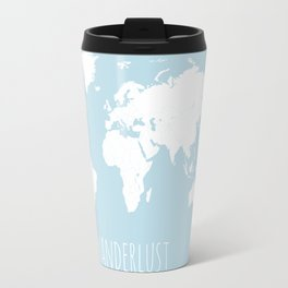 World Map - Wanderlust Quote - Modern Travel Map in Light Blue With White Countries Travel Mug