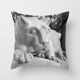Penn State University Nittany Lion Statue Black White Side Throw Pillow