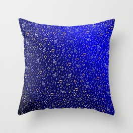 silver,gold,metall music notes in blue Throw Pillow