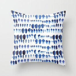 Indigo Watercolour Paint Splodges Throw Pillow