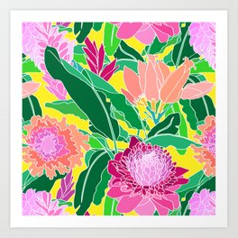 Bird of Paradise + Ginger Tropical Floral in Canary Yellow Art Print