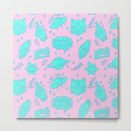 Fingers crossed three-eyed cat and UFO pattern Metal Print