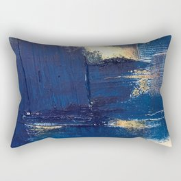 Halo [2]: a minimal, abstract mixed-media piece in blue and gold by Alyssa Hamilton Art Rectangular Pillow