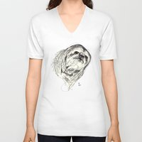 sloth V-neck T-shirts featuring Sloth by Ursula Rodgers