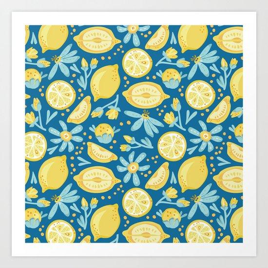Lemon Pattern Blue Art Print