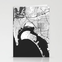 san diego Stationery Cards featuring San Diego Map Gray by City Art Posters