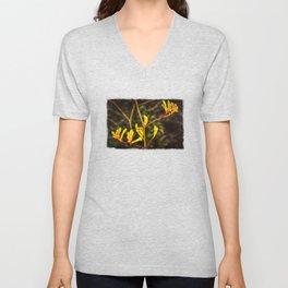 Yellow Kangaroo Paw flower against a blurred background Unisex V-Neck