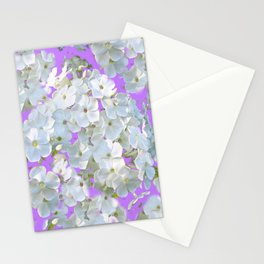 DELICATE LILAC & WHITE LACE FLORAL GARDEN PATTERNS Stationery Cards