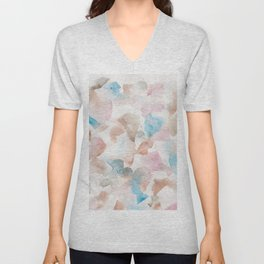 180713 Soft Pastel Watercolour  Watercolor Brush Strokes Unisex V-Neck