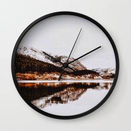 Mid Century Modern Round Circle Photo Graphic Design Reflective Mountain Lake Autumn Forest Wall Clock