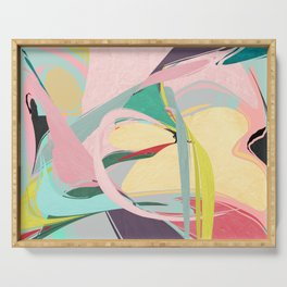 Shapes and Layers no.23 - Abstract Draper pink, green, blue, yellow Serving Tray
