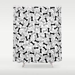 Kawaii Black Bones Pattern Shower Curtain