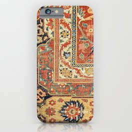 Indian Trellis II // 17th Century Ornate Medallion Red Blue Green Flowers Leaf Colorful Rug Pattern iPhone Case