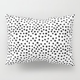 Preppy black and white dots minimal abstract brushstrokes painting illustration pattern print Pillow Sham