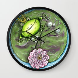 Frog Prince on His Lily Pad Wall Clock