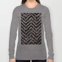 Black and White Marble and Rose Gold Chevron Zigzag Long Sleeve T-shirt