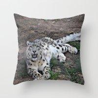 snow leopard Throw Pillows featuring Snow Leopard by Kaleena Kollmeier