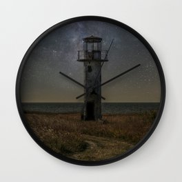 Forgotten lighthouse at the estonia coast Wall Clock