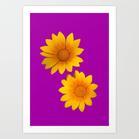 Two Yellow Flowers on Funky Purple Background Art Print