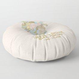 A Traveler's Heart + Quote Floor Pillow