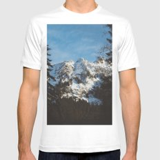 Rustic mountain White MEDIUM Mens Fitted Tee
