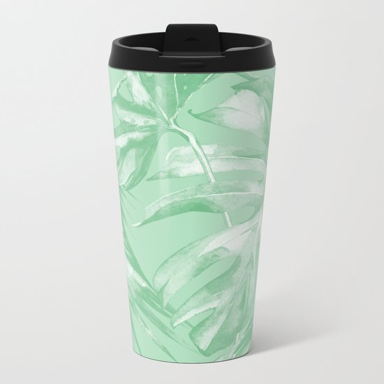 Tropics Mint Green Palm Leaves Metal Travel Mug