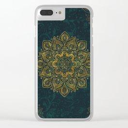 Golden Flower Mandala on Dark Turquoise Clear iPhone Case