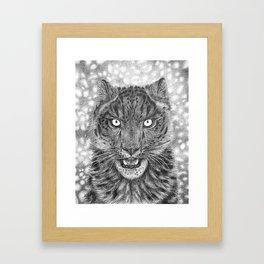 Hunter's Gaze Black and White Framed Art Print