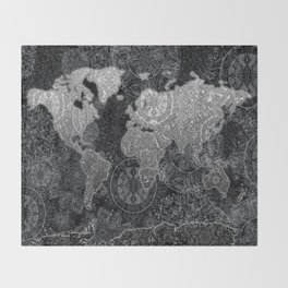 world map mandala black and white 3 Throw Blanket