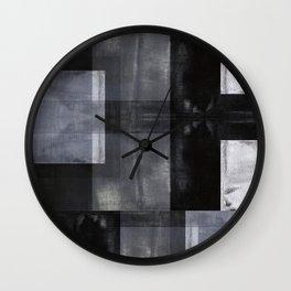 Modern Abstract No. 11   Black, White + Gray Wall Clock