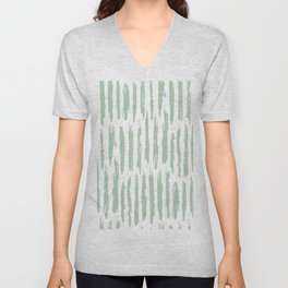 Vertical Dash Stripes Pastel Cactus Green on White Unisex V-Neck