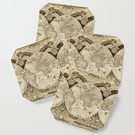 Antique world map with sail ships, sepia Coaster