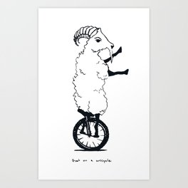 Goat on a Unicycle (labeled) Art Print