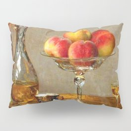 Refreshments, Cognac, a Rose, and Peaches still life by Emma Magnus for kitchen or dinning room Pillow Sham
