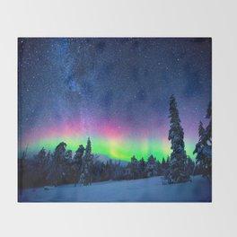 Aurora Borealis Over Wintry Mountains Throw Blanket