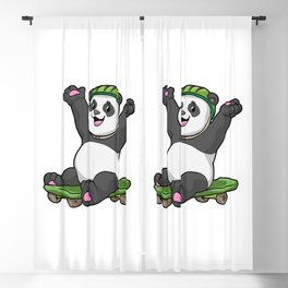 Panda as Skater with Skateboard and Helmet Blackout Curtain