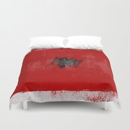 Albanian Distressed Halftone Denim Flag Duvet Cover