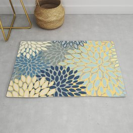 Floral Print, Yellow, Gray, Blue, Teal Rug