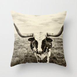 Lone Longhorn Throw Pillow