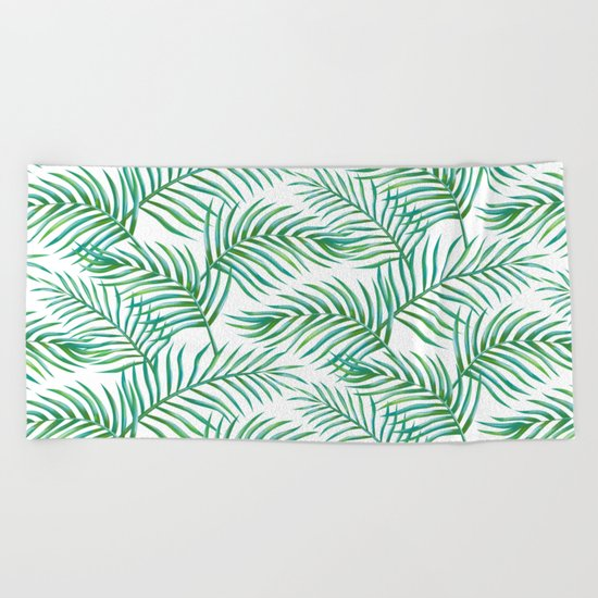 Palm Leaves_Bg White Beach Towel