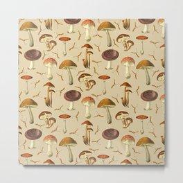 Wild Forest Mushroom Pattern Metal Print