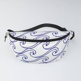 Rough Sea Pattern - blue on white Fanny Pack