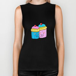 Blue and pink cherry cupcake besties  Biker Tank