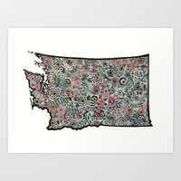Washington Illustration with Flowers Art Print