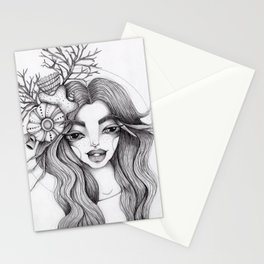 JennyMannoArt Graphite Drawing/Serena the mermaid Stationery Cards