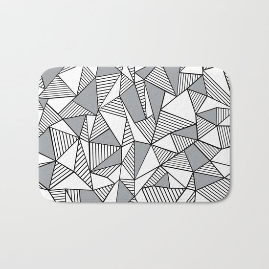 Abstract Lines With Grey Blocks Bath Mat