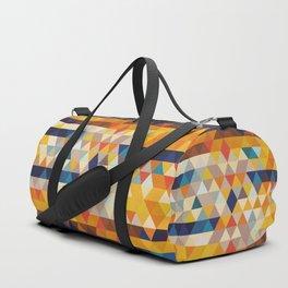 Geometric Triangle - Ethnic Inspired Pattern - Orange, Blue Duffle Bag