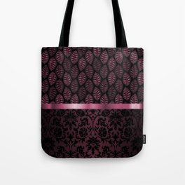 Pink Tint Skeleton Leave Pattern Tote Bag